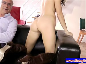 brunette inexperienced in underwear nailed from behind in hd