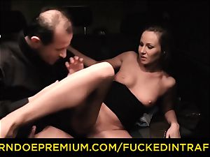 pounded IN TRAFFIC curious black-haired hookup with driver