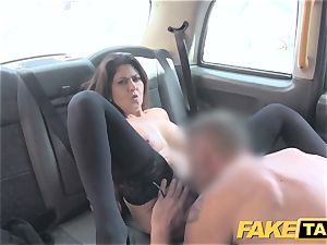 faux cab gigantic facial jizz shot for brown-haired in stockings