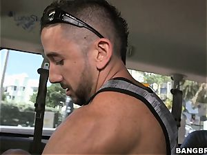 Veronica Rodriguez spreads her legs on the Bangbus