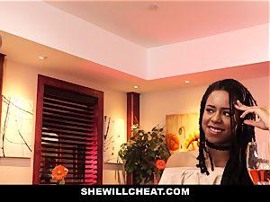 SheWillCheat - hotwife wifey plows big black cock in douche