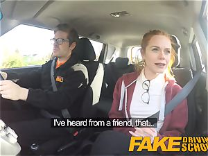 faux Driving college ultra-cute red-haired Ella Hughes nails