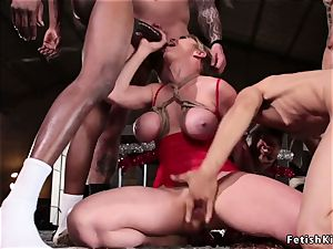 big-boobed Mrs Claus taking 5 ample rods