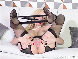 super-sexy mummy takes off off dark-hued lingerie fingering in nylons