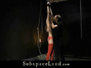crimson underwear bdsm marionette nubile gets punished and slapping