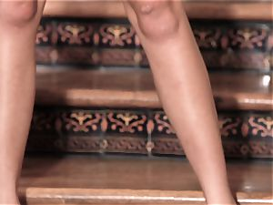 squirting orgasm on the stairs