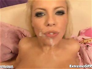 scorching blondie Britney Amber gets dual banged