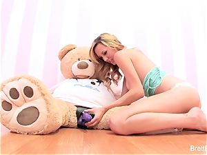 Brett Rossi plays with a slammed bear's strap-on faux-cock