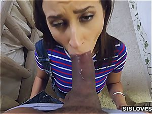 Open minded stepsister Ashley lets her brother have fun with her fucktoys and bootie