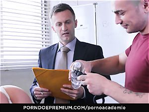 porn ACADEMIE - ultra-kinky college dame gets anal in 3