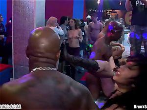 Mass pornography sex in a striptease bar