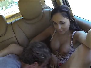 naughty Ariana Marie drills 2 hard-ons in public