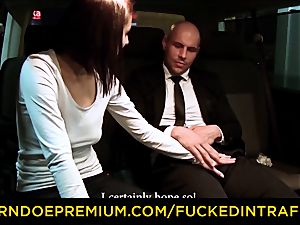 plumbed IN TRAFFIC - cab car romp with Czech black-haired