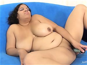 plus-size unclothes and satisfies Herself with a wand