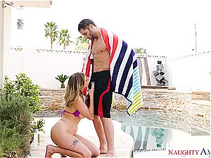 Giselle Palmer boned by the pool