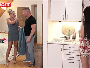 Step dad helps daughter tidy his spunk instead of apartment
