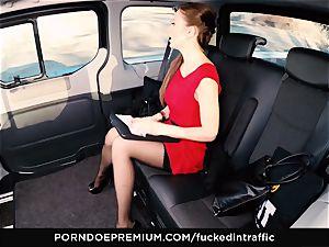 pummeled IN TRAFFIC Tina Kay footjob in the backseat