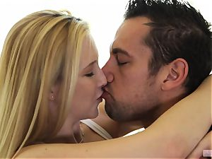Samantha Rone works out on a giant rigid shaft