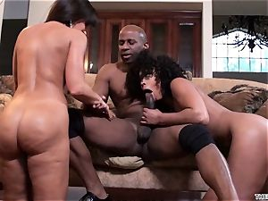 Lisa Ann and Misty Stone slobber over this hard beef whistle