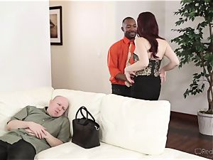 Jessical Ryan plows a dark stiffy as her spouse sees