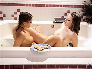 August Ames and Cassidy Klein bathtime joy