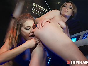 pussy loving lesbos Adriana Chechik and Lily Labeau unload on board