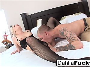hardcore romp on a ginormous sofa with Dahlia Sky and Richie dark-hued