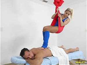 delicious, skillful gymnast Marsha May takes big trouser snake during training