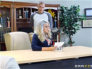 horny platinum-blonde Alix Lovell riding on top of Xander Corvus