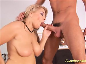steaming hookup with shaved Stepmom