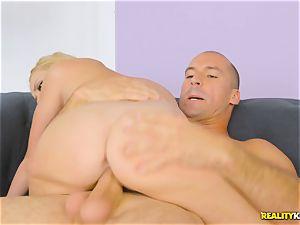 steaming ash-blonde Brice Bardot sits on the humungous man sausage of Sean