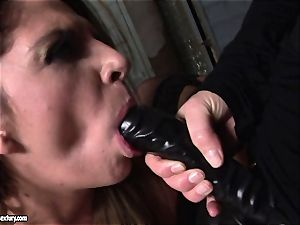 Kathia Nobili lets a molten nymph deepthroat her cable on