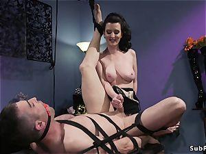unshaved huge-chested mistress anal invasion pummels masculine