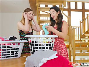 vulva fondling lovely Eva Lovia and Stella Cox messing in the laundry