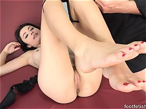 Adria Rae Gives a Footjob and Gets a jizz shot on Toes