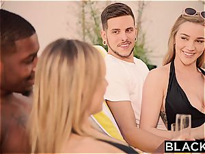 Kendra Sunderland seduced by Jillian Janson and her big black cock boyfriend