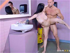provocative toilet penetrating for blistering black-haired Noelle Easton