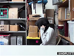 huge breasted hijab teen gets a facial in the shop backoffice